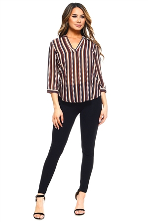 Wholesale Clothing Plus Size Women's Stripe Print 3/4 Sleeve  V Neck Top -VB-3033-B