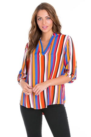 Wholesale Clothing Women's Stripe Print 3/4 Sleeve  V Neck Hi Lo Top -VB-3034-A