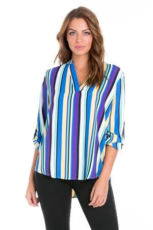 Wholesale Clothing Plus Size Women's Stripe Print 3/4 Sleeve  V Neck Hi Lo Top -VB-3034-B