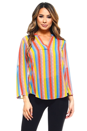 Wholesale Clothing Women's Stripe Print 3/4 Sleeve V Neck Top -VB-3035-A