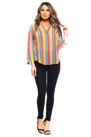 Wholesale Clothing Plus Size Women's Stripe Print 3/4 Sleeve V Neck Top -VB-3035-B