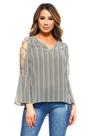 Wholesale Clothing Women's Herringbone Print Bell Sleeve Open Shoulder V Neck Top -VB-3036-A