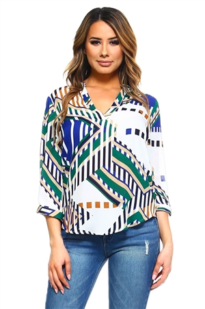 Wholesale Clothing Women's Abstract Print 3/4 Sleeve  V Neck Top -VB-3041-A