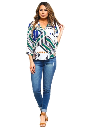 Wholesale Clothing Plus Size Women's Abstract Print 3/4 Sleeve  V Neck Top -VB-3041-B
