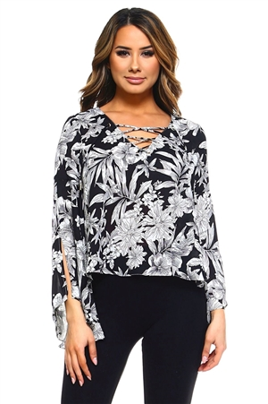 Wholesale Clothing Women's Floral Print Slit Bell Sleeve Caged Neckline V Neck Top -VB-3042-A