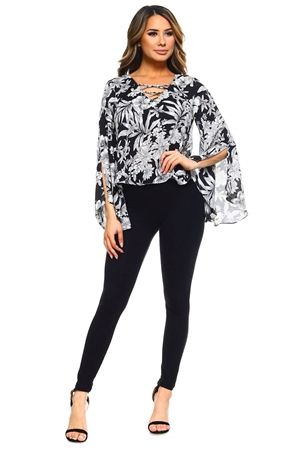 Wholesale Clothing Plus Size Women's Floral Print Slit Bell Sleeve Caged Neckline V Neck Top -VB-3042-B