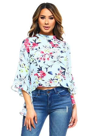 Wholesale Clothing Women's Floral Print Ruffled Bell Sleeve Top -VB-3043-A