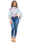 Wholesale Clothing Plus Size Women's Floral Print Ruffled Bell Sleeve Top -VB-3043-B