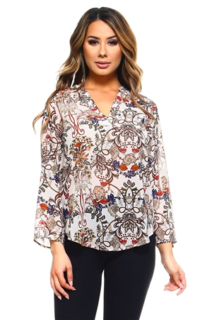 Wholesale Clothing Women's Floral Print 3/4 Sleeve  V Neck Top -VB-3044-A