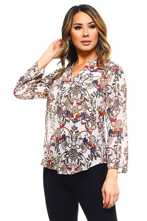 Wholesale Clothing Plus Size Women's Floral Print 3/4 Sleeve  V Neck Top -VB-3044-B