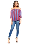 Wholesale Clothing Plus Size Women's Stripe Print 3/4 Sleeve Peasant Top -VB-3045-B