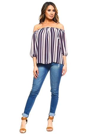 Wholesale Clothing Plus Size Women's Stripe Print 3/4 Sleeve Peasant Top -VB-3046-B