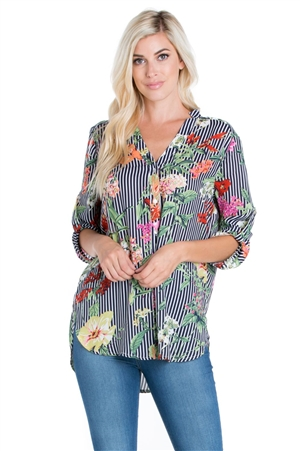 Wholesale Clothing Women's Floral Pin Stripe Print 3/4 Sleeve Button Down Hi Lo Blouse -VB-3047-A