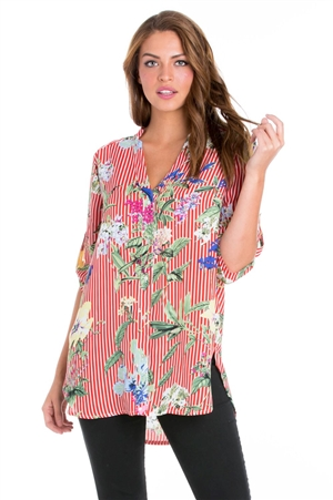 Wholesale Clothing Plus Size Women's Floral Pin Stripe Print 3/4 Sleeve Button Down Hi Lo Blouse -VB-3047-B