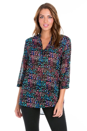 Wholesale Clothing Women's Dotted Print 3/4 Sleeve Mandarin Collar Tunic -VB-3049-A
