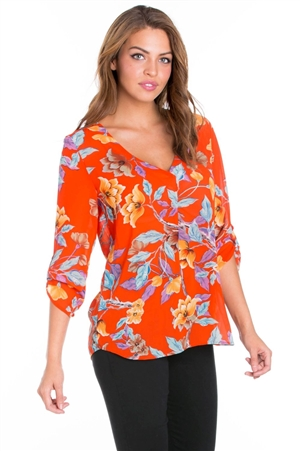 Wholesale Clothing Women's Floral Print 3/4 Sleeve  V Neck Top -VB-3050-A