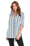 Wholesale Clothing Women's Pin Stripe Print  Mandarin Collar 3/4 Sleeve Button Down Tunic Blouse -VB-3051-A