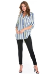 Wholesale Clothing Plus Size Women's Pin Stripe Print  Mandarin Collar 3/4 Sleeve Button Down Tunic Blouse -VB-3051-B