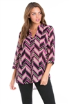 Wholesale Clothing Women's Chevron Print 3/4 Sleeve  V Neck Hi Lo Top -VB-3052-A