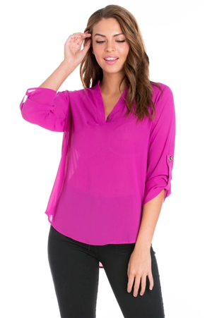 Wholesale Clothing Women's Solid Color 3/4 Roll Up Sleeve V Neck Hi Lo Top -VB-3054-A