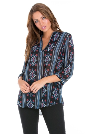 Wholesale Clothing Women's Aztec Print 3/4 Sleeve V Neck Tunic Top -VB-3055-A