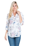 Wholesale Clothing Women's Floral Print 3/4 Sleeve V Neck Tunic Top -VB-3056-A
