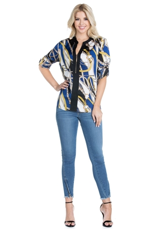Wholesale Clothing Women's Plus Size Retro Print Mandarin Neck ¾ Roll Up Sleeve Top -VB-3057P-B