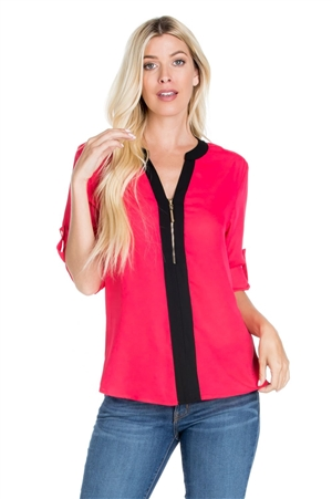 Wholesale Clothing Women's Contrast Color Mandarin Neck ¾ Roll Up Sleeve Top -VB-3057S-A