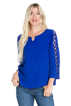 Wholesale Clothing Women's Scoop Neck Caged Flared Sleeve Tunic Top -VB-3058-A