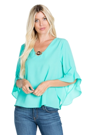 Wholesale Clothing Women's Ruffled Flared ¾ Bell Sleeve V Neck Top -VB-3059-A