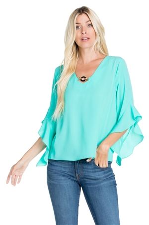 Wholesale Clothing Plus Size Women's Ruffled Flared ¾ Bell Sleeve V Neck Top -VB-3059-B
