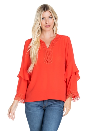 Wholesale Clothing Plus Size Women's Crochet Trimmed Ruffled Flared Bell Sleeve V Neck Top -VB-3060-B