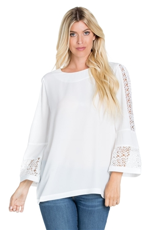 Wholesale Clothing Women's Crochet Trimmed Flared Bell Sleeve Top -VB-3063-A