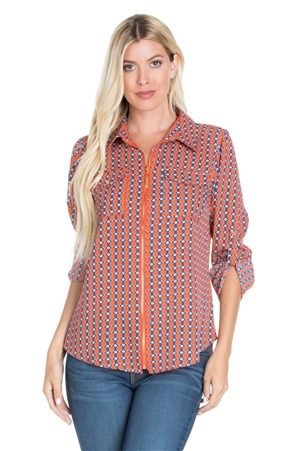 Wholesale Clothing Plus Size Women's Geo Print Zip Up ¾ Roll Up Sleeve Shirt Top -VB-3065-B