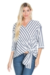 Wholesale Clothing Women's Stripe Print French Twist  ¾ Sleeve Crop Top -VB-3066-A