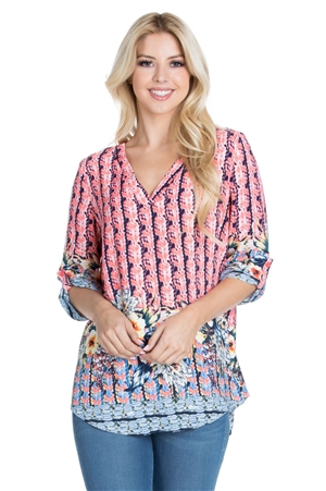 Wholesale Clothing Women's Floral Print 3/4 Sleeve V Neck Tunic Top -VB-3068-A