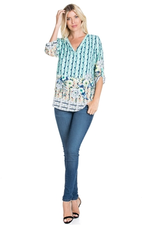 Wholesale Clothing Plus Size Women's Floral Print 3/4 Sleeve V Neck Tunic Top -VB-3068-B