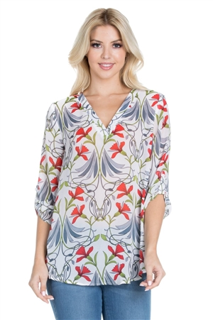 Wholesale Clothing Women's Floral Print 3/4 Sleeve V Neck Tunic Top -VB-3069-A
