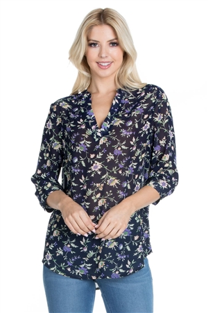 Wholesale Clothing Women's Floral Print 3/4 Sleeve V Neck Top -VB-3072-A