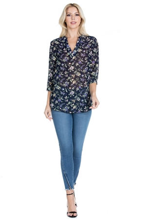 Wholesale Clothing Women's Plus Size Floral Print 3/4 Sleeve V Neck Top -VB-3072-B
