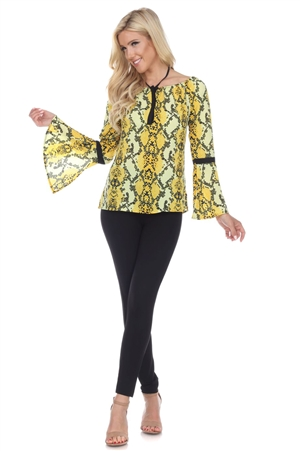Wholesale Clothing Plus Size Women's Snakeskin Print Neck Tied Bell Sleeve Peasant Top -VB-3083-B