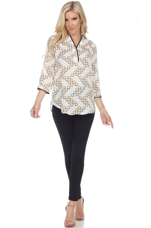Wholesale Clothing Plus Size Women's Polka Dot Print 3/4 Sleeve Piping V Neck Top -VB-3084-B