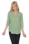 Wholesale Clothing Women's Geo Print 3/4 Sleeve V Neck Top -VB-3085-A