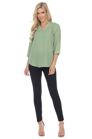 Wholesale Clothing Plus Size Women's Geo Print 3/4 Sleeve V Neck Top -VB-3085-B