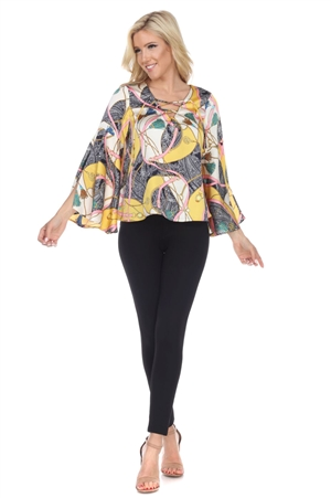 Wholesale Clothing Plus Size Women's Sateen Abstract Print Lace Up Neckline Flared Bell Sleeve Top -VB-3086-B
