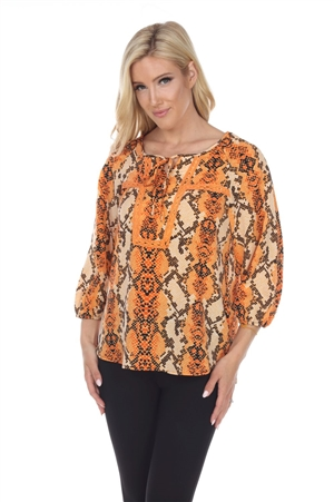 Wholesale Clothing Women's Snakeskin Print Crochet Trimmed 3/4 Sleeve Tunic Top -VB-3087-A
