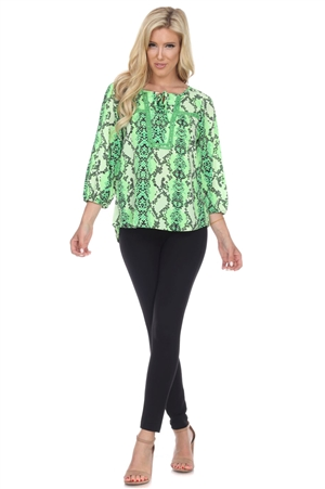 Wholesale Clothing Plus Size Women's Snakeskin Print Crochet Trimmed 3/4 Sleeve Tunic Top -VB-3087-B