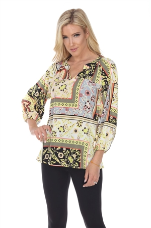 Wholesale Clothing Women's Ornate Print 3/4 Sleeve V Neck Tunic Top -VB-3088-A