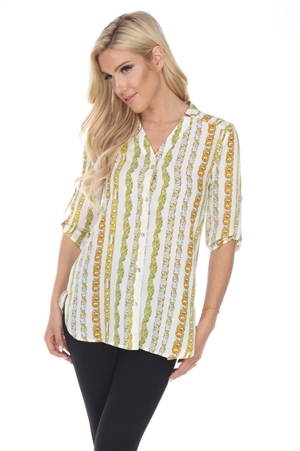 Wholesale Clothing Plus Size Women's Chain Link Print 3/4 Sleeve V Neck Button Down Tunic Top -VB-3089-B