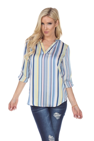 Wholesale Clothing Women's Stripe Print Sateen 3/4 Sleeve V Neck Top -VB-3090-A